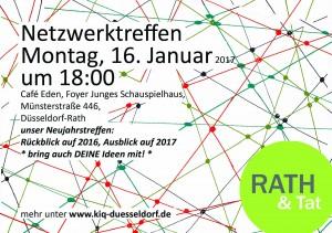 170116_Einladung Netzwerktreffen KiQ Rath Tat Junges Schauspielhaus Cafe Eden Quartier Entwicklung Dorothee Linneweber